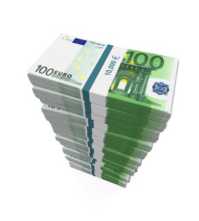 banconote euro: Le pile di 100 euro banconote