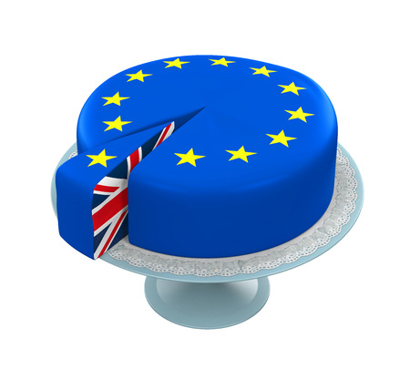 piece of cake: Great Britain Flag as Piece of European Union Cake Stock Photo