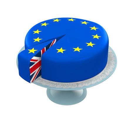 Great Britain Flag as Piece of European Union Cake Archivio Fotografico