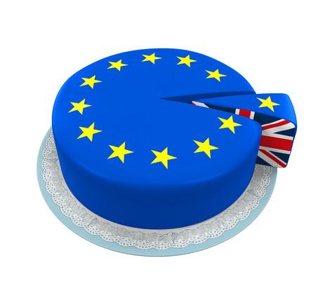 bandera de gran bretaña: Gran bandera de Gran Bretaña como pedazo de la torta de la Unión Europea