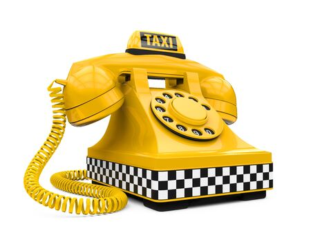 reservation: Yellow Taxi Car Sign and Telephone