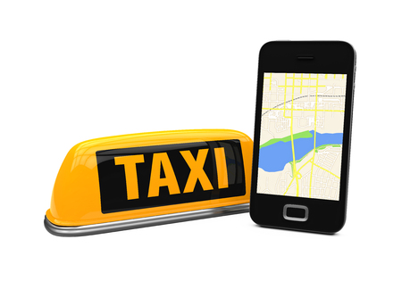 reservation: Taxi Car Sign and Smartphone