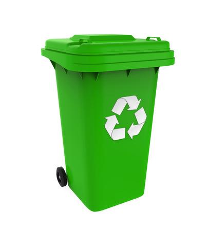 Vuilnisbak met Recycle-symbool Stockfoto