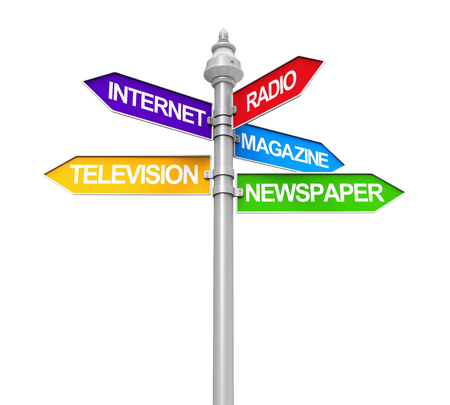 street sign: Sign Directions of Media Information Stock Photo