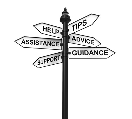 Sign Directions Support Help Tips Advice Guidance Assistance Foto de archivo