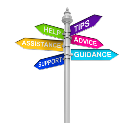 guidance: Sign Directions Support Help Tips Advice Guidance Assistance Stock Photo