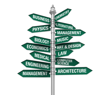 maths department: Direction Sign of Majors Stock Photo