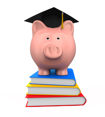budget: Piggy Bank with Graduation Cap and Books Stock Photo