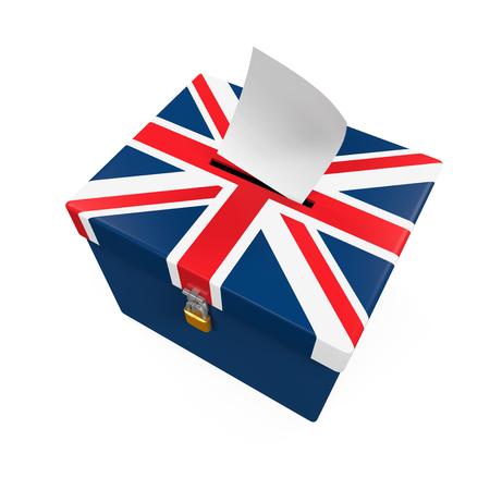 voter registration: Ballot Box with United Kingdom Flag