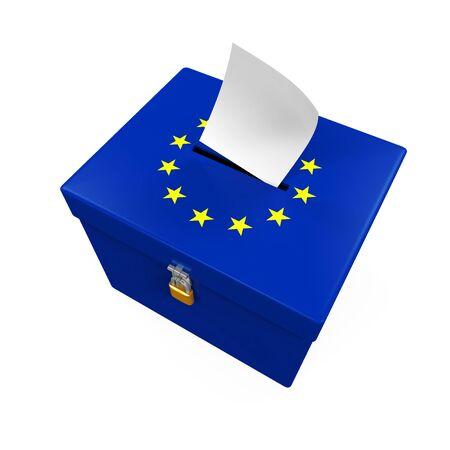 voter registration: Ballot Box with European Union Flag Stock Photo