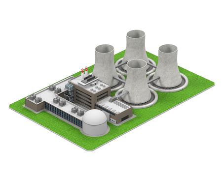 nuclear reactor: Nuclear Power Plant Stock Photo