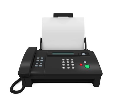fax machine: Fax Machine with Paper Stock Photo