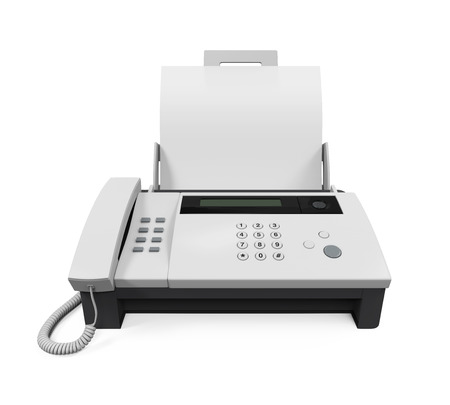 fax: Fax Machine with Paper Stock Photo