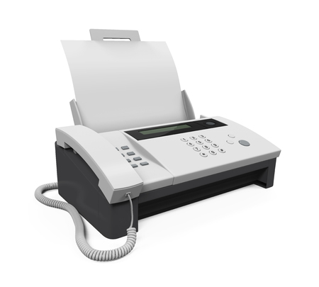 Fax Machine with Paper Stockfoto