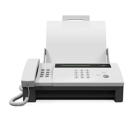 Fax Machine with Paper 写真素材