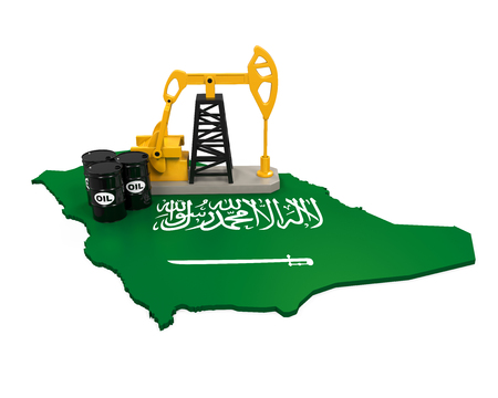 Oil Pump and Oil Barrels on Saudi Arabia Map