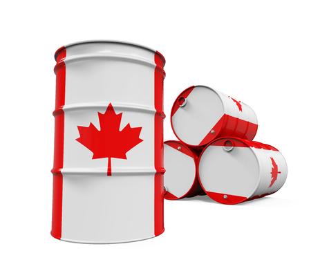 barell: Canadian Flag Oil Barrel Stock Photo
