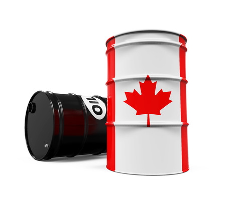 barell: Canadian Flag Oil Barrel Stock Photo