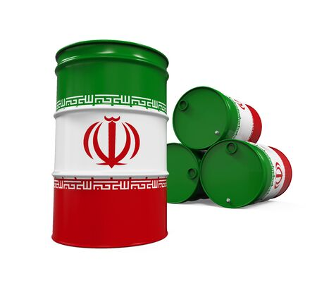iran: Iran Flag Oil Barrel
