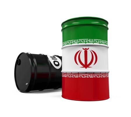 middle east crisis: Iran Flag Oil Barrel
