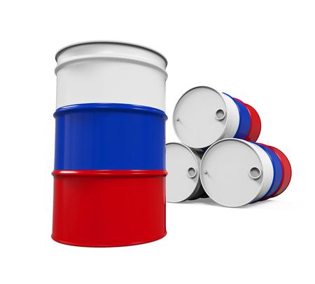 barrels: Russian Flag Oil Barrel Stock Photo