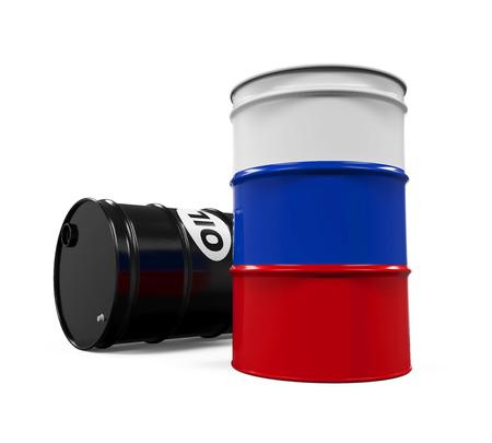 barell: Russian Flag Oil Barrel Stock Photo