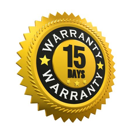 days: 15 Days Warranty Sign Stock Photo