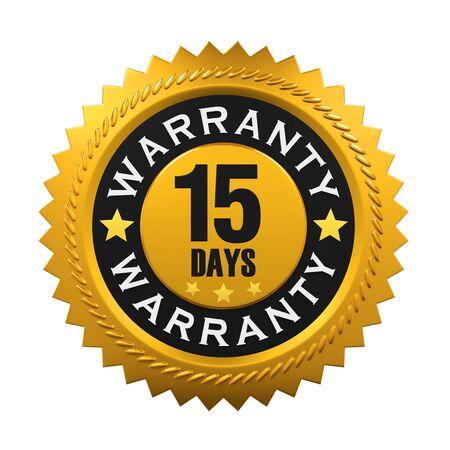 15: 15 Days Warranty Sign Stock Photo