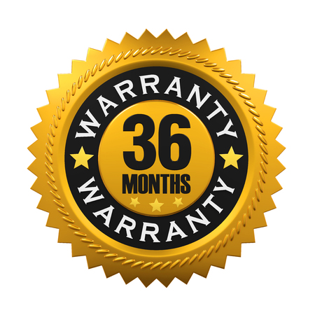 36: 36 Months Warranty Sign Stock Photo