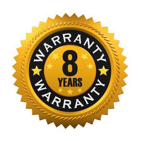 warranty: 8 Years Warranty Sign Stock Photo