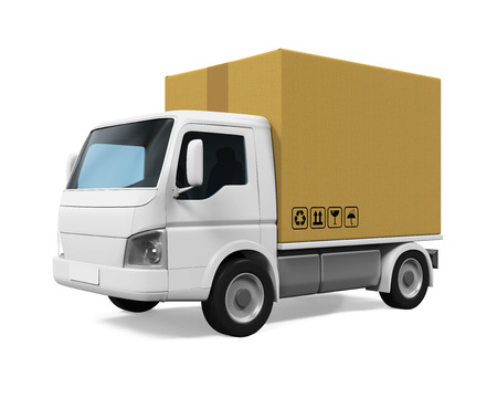 Delivery Van with Cardboard Box