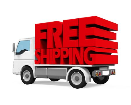 trucker: Delivery Van with Free Shipping Text