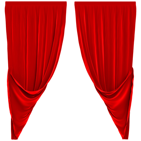 red curtains: Red Curtains Isolated Stock Photo