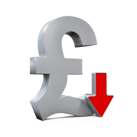 pound symbol: Great Britain Pound Symbol and Red Arrow
