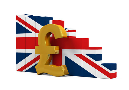 pound symbol: Great Britain Pound Symbol and Graph Chart Stock Photo
