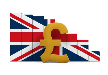 Gran Bretaña Libra símbolo y la carta del gráfico Foto de archivo - 61004725
