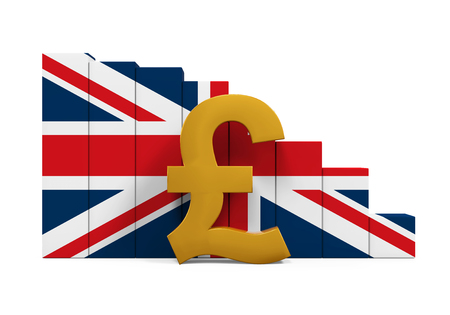 Great Britain Pound Symbol and Graph Chart Stock Photo