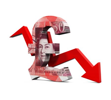 downturn: Great Britain Pound Symbol and Red Arrow