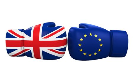 remain: Boxing Gloves With UK and Euro Flag Stock Photo