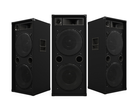 party system: Large Audio Speakers Stock Photo
