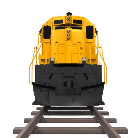 locomotora: Tren de carga de color amarillo Foto de archivo