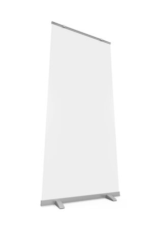 display: Blank Roll Up Display Banner Stock Photo