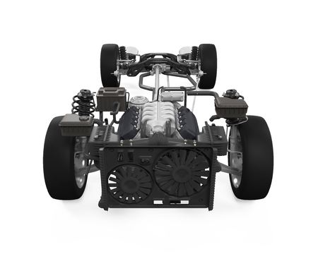 assembler: Car Chassis with Engine Stock Photo