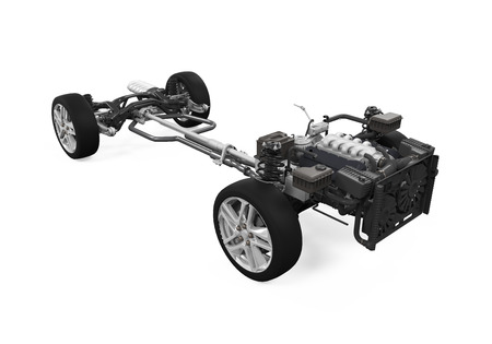 chassis: Car Chassis with Engine Stock Photo