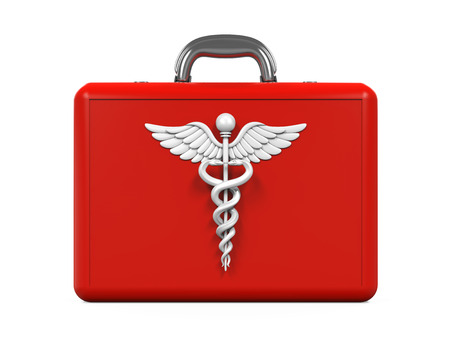 staff of aesculapius: First Aid Kit with Caduceus Symbol