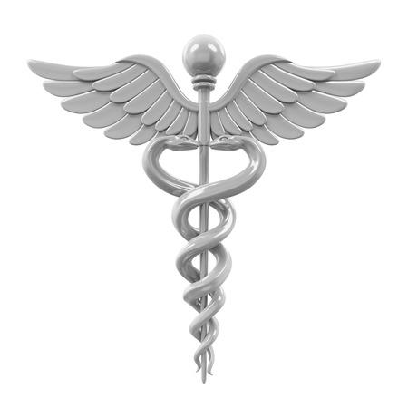 Silver Caduceus Medical Symbol Standard-Bild