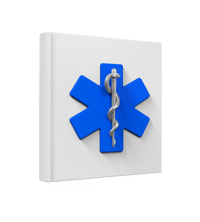 staff of aesculapius: Medical Book with Star of Life Symbol Stock Photo