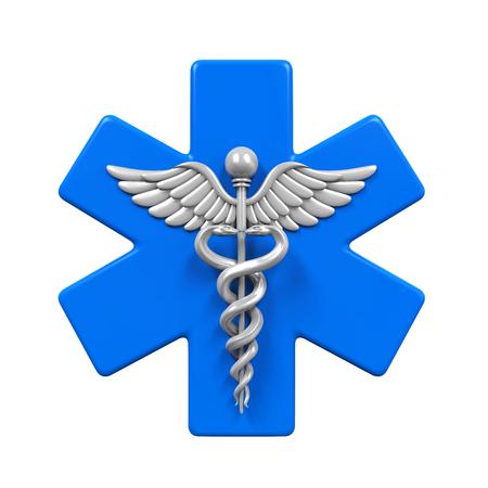 estrella de la vida: Estrella de la vida del símbolo del caduceo