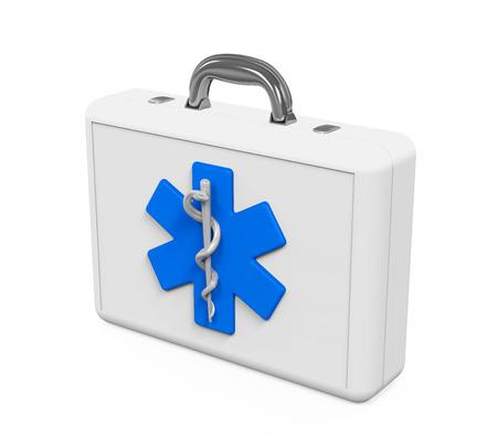 estrella de la vida: Kit de primeros auxilios con la estrella de símbolo de la vida Foto de archivo