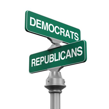 elect: Democrats Republicans Direction Sign Stock Photo